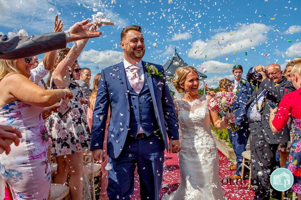 confetti with bride and groom at shottle hall