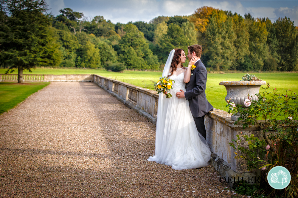 Romantic shot of Bride and Groom in the grounds of Prestwold Hall