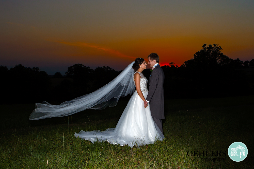 sunset shot with Bride and Groom