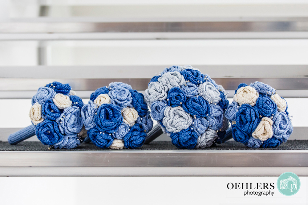 blue and white crocheted wedding bouquets