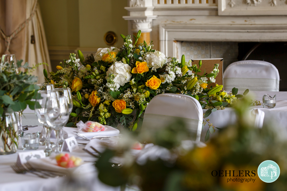 Image of the flower arrangement on the top table