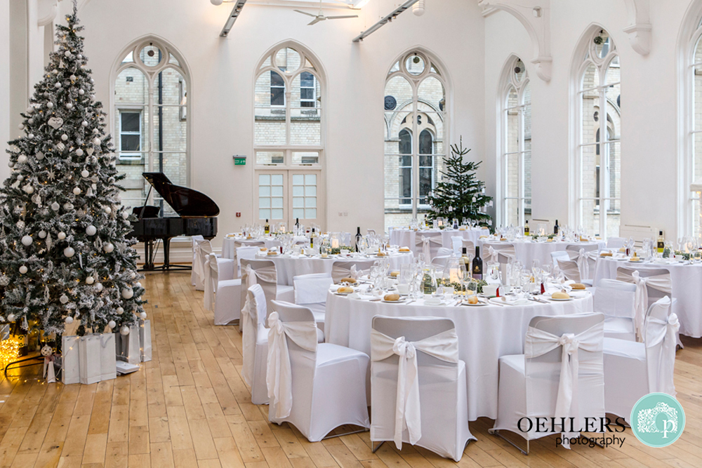 christmas themed wedding breakfast room