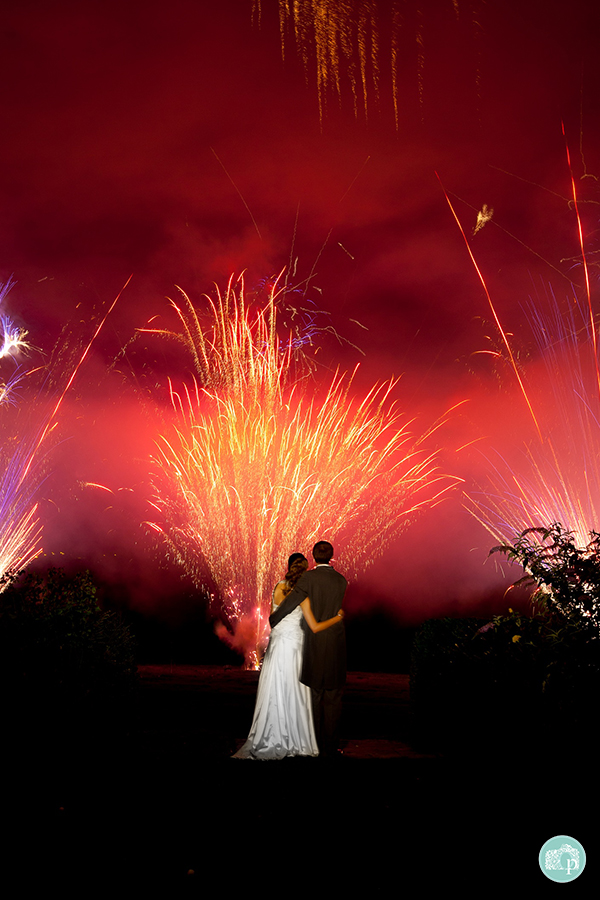 Bride and Groom watching spectacular fireworks