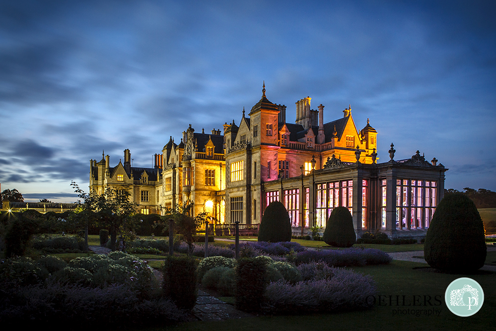 Evening shot of Stoke Rochford lit up