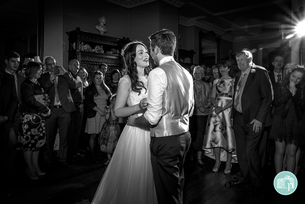 Black and White photo of First Dance at Prestwold Hall