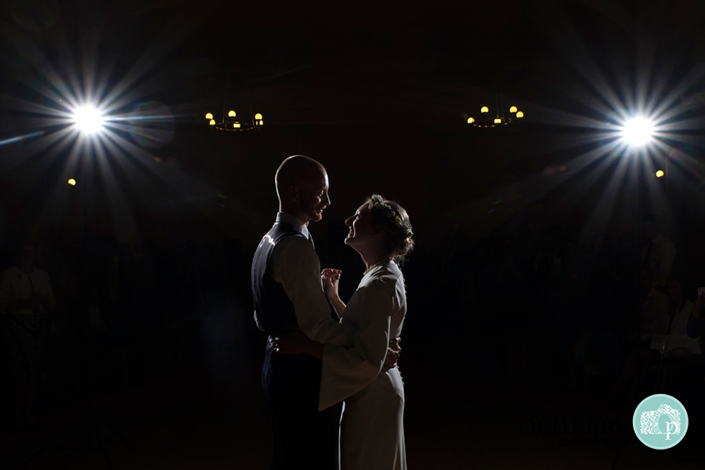 Silhouette of Bride and Groom during their first dance