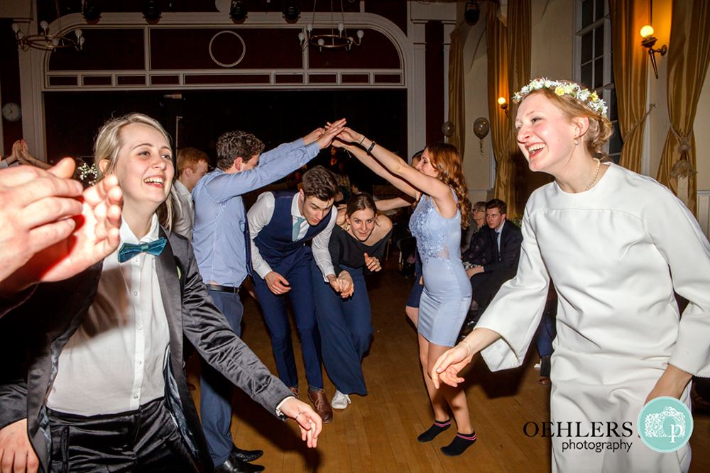 At the end of an arch during a ceilidh