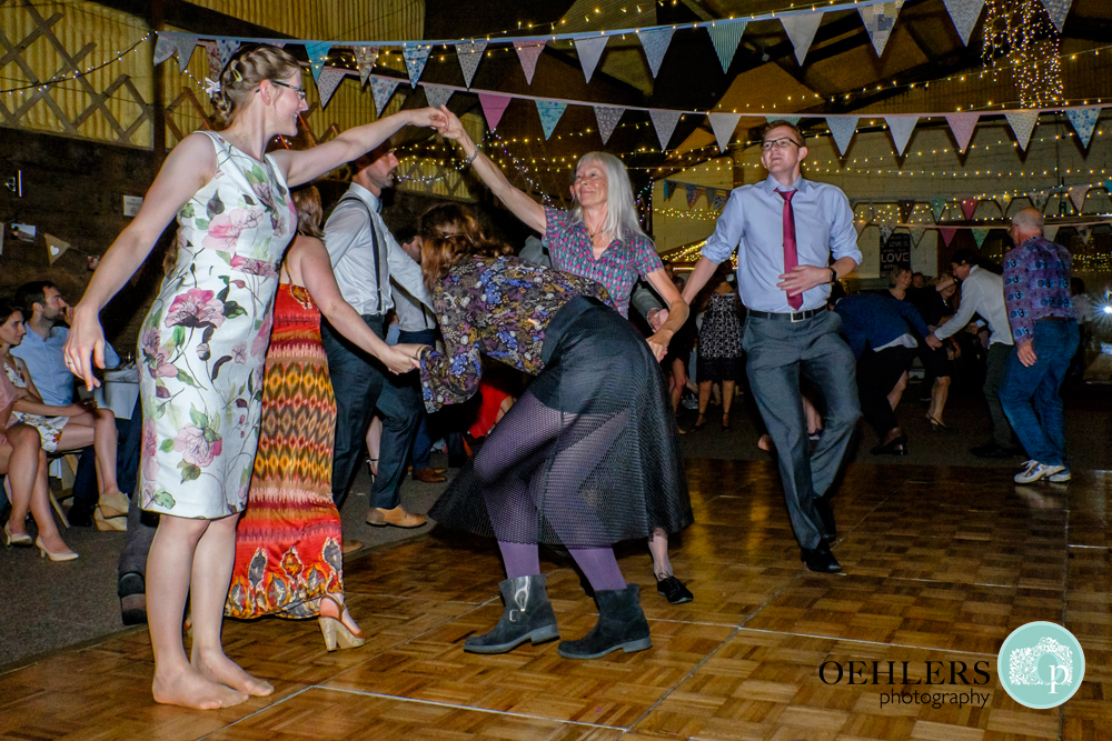 Guests getting tangled in a ceilidh