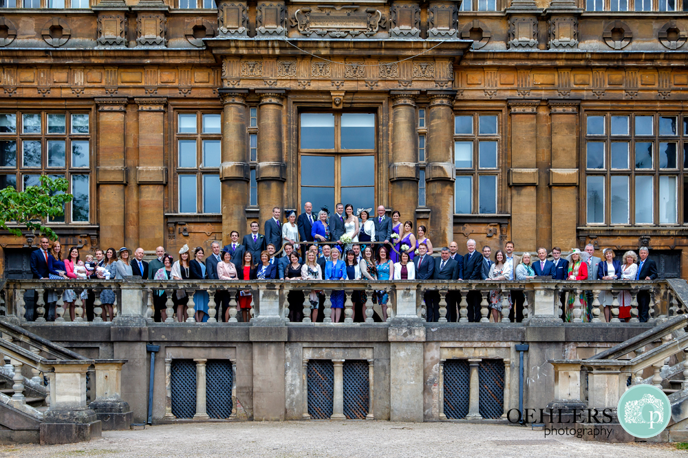 Big group shot on the back balcony of Wollaton Hall