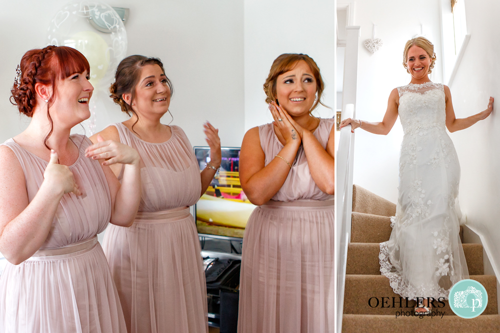 emotional bridesmaids looking at bride