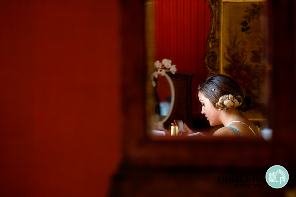 bridesmaid reflection in a mirror