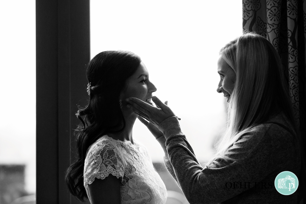 silhouette of bride and make up