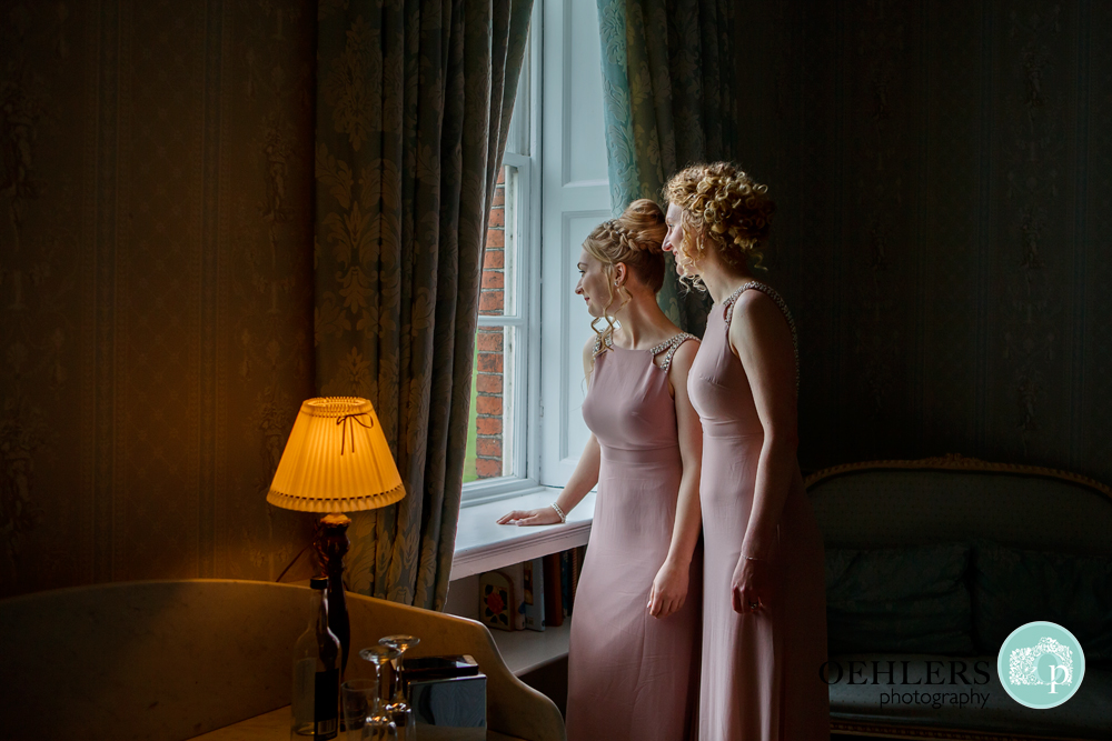 bridesmaids looking out of the window