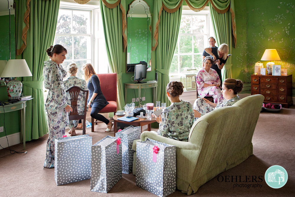 bridal party relaxing in their bridal pyjamas