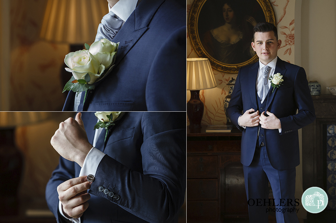 Groom's buttonhole and cufflinks Carlton Towers wedding