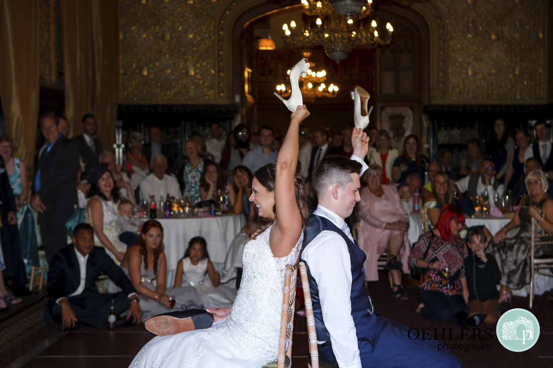 Bride and groom play game at Carlton Towers wedding