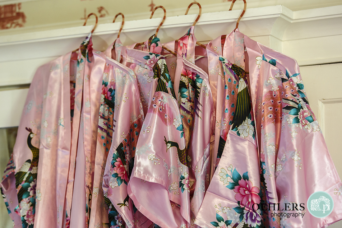 Bridesmaids pink chinese silk dressing gowns