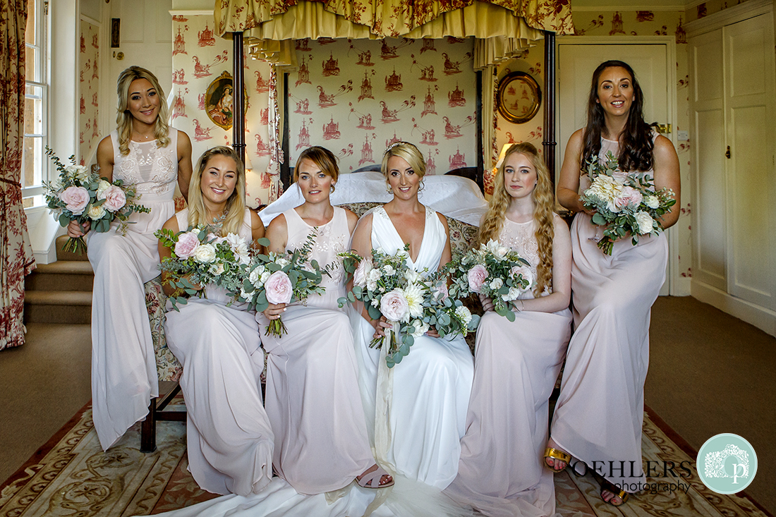 Bride and her Bridesmaids seated