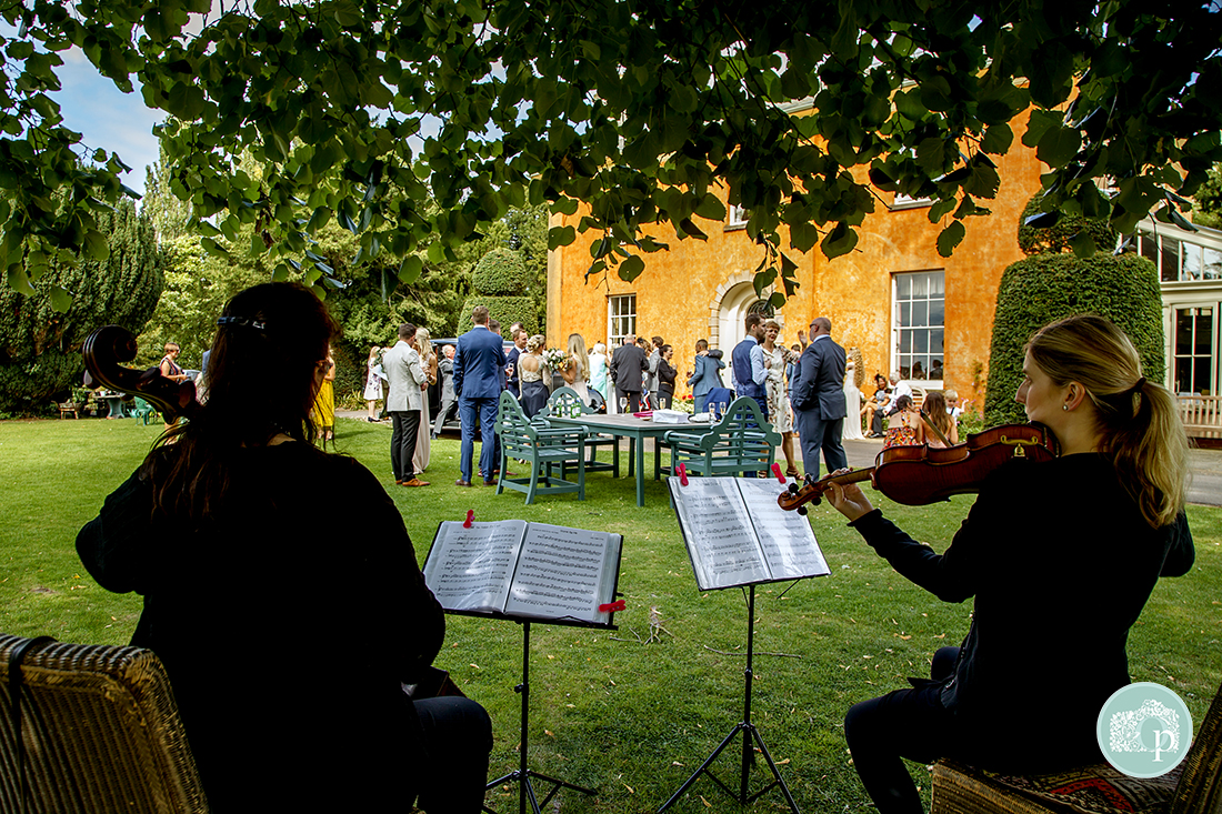 Musicialns serenade the guests on the lawn