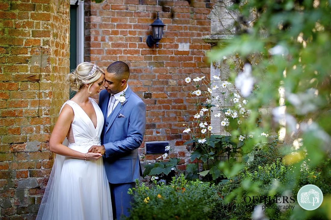 Brida and Groom in the gardens of Langar Hall