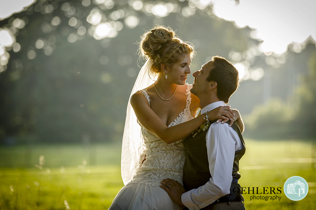 A summers evening shot of Bride and Groom