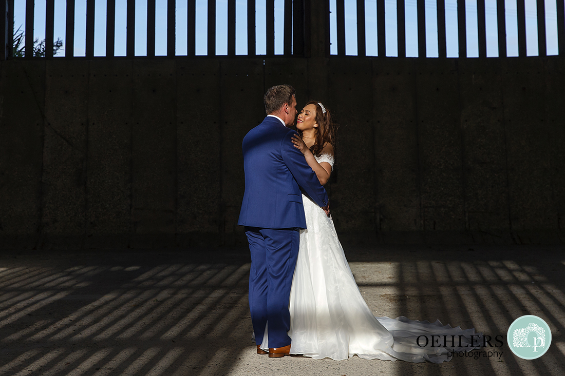 Romantic Shot of the Groom and Bride
