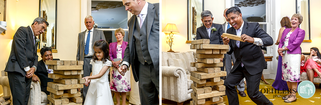 Guests playing Jenga