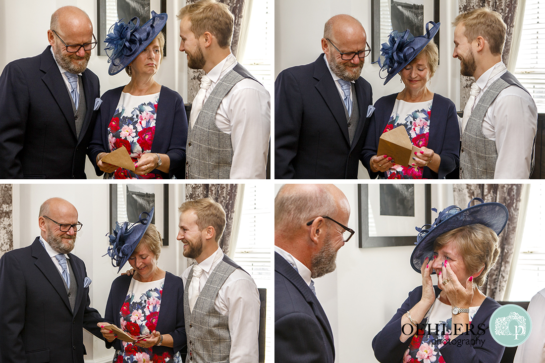 Groom gives mum a gift