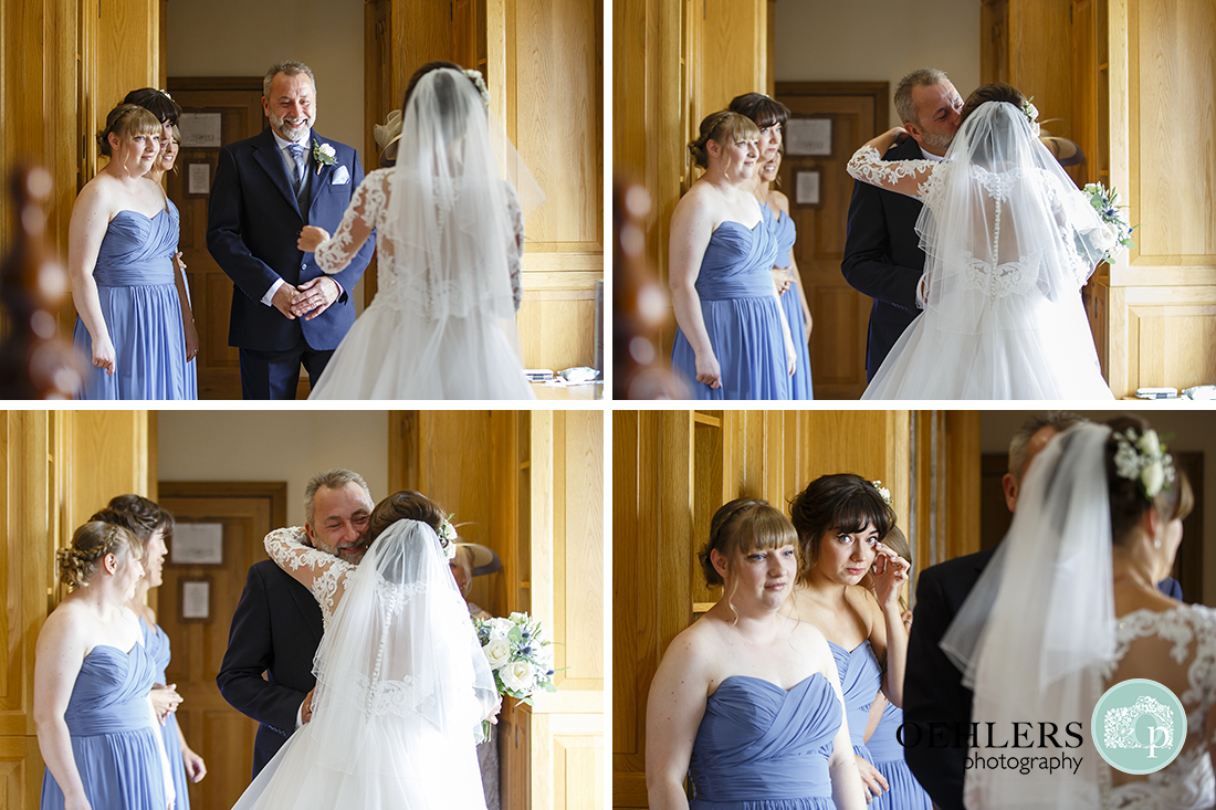 Swancar Farm Wedding Photography-dad seeing her daughter in her dress for the first time