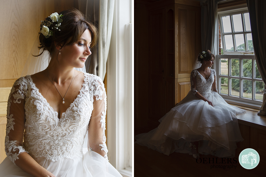 Swancar Farm Wedding Photography-Bride looking pensively out of the window