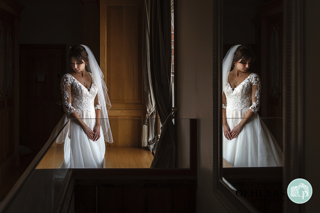 Reflection of the bride in the mirror