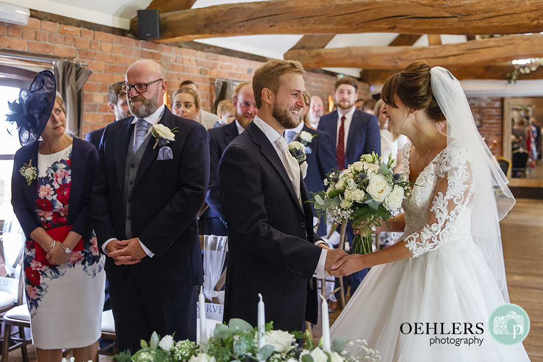 Swancar Farm Wedding Photography-Bride sees her Groom at the end of the aisle