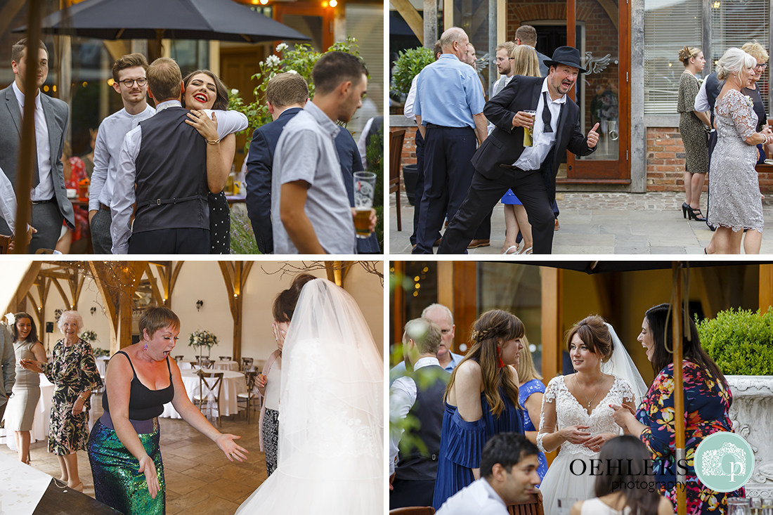 Swancar Farm Wedding Photography-Guests relaxing in the courtyard