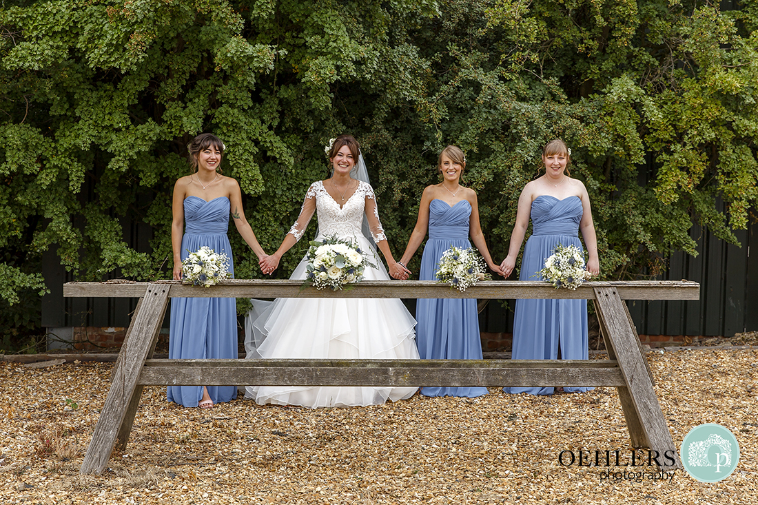 Swancar Farm Wedding Photography-Bride with her bridesmaids