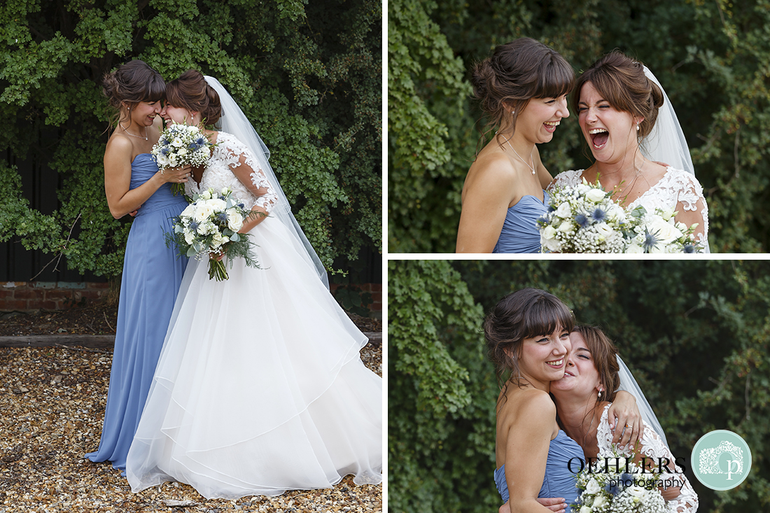 Swancar Farm Wedding Photography-Bride and sister having a laugh