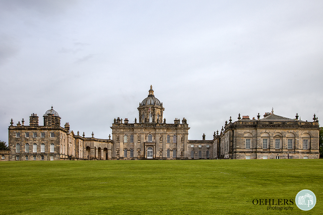 Majestic front facade of the majestic Castle Howard in North Yorkshire.