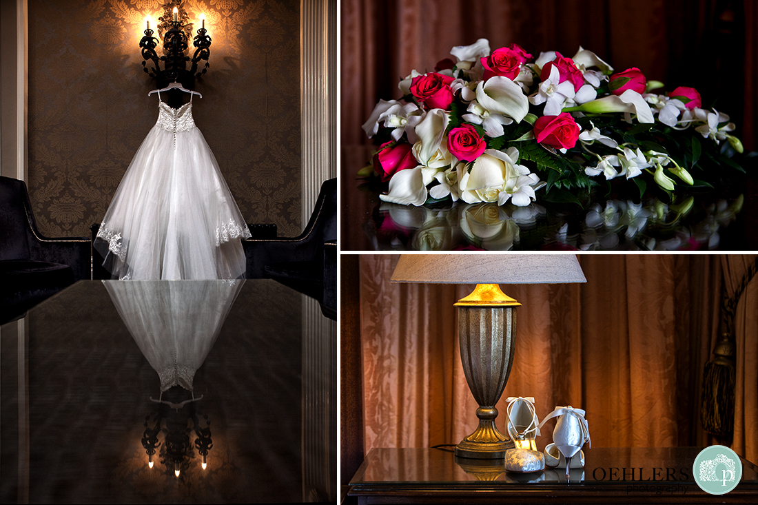 Montage of wedding dress hanging up and bridal bouquet and wedding shoes on a table.