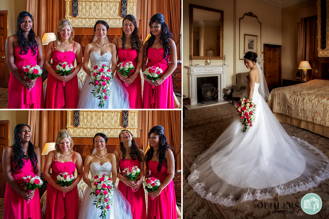 Montage of Bride with her bridesmaids posing informally and formally as well as beautiful bride showing off her dress
