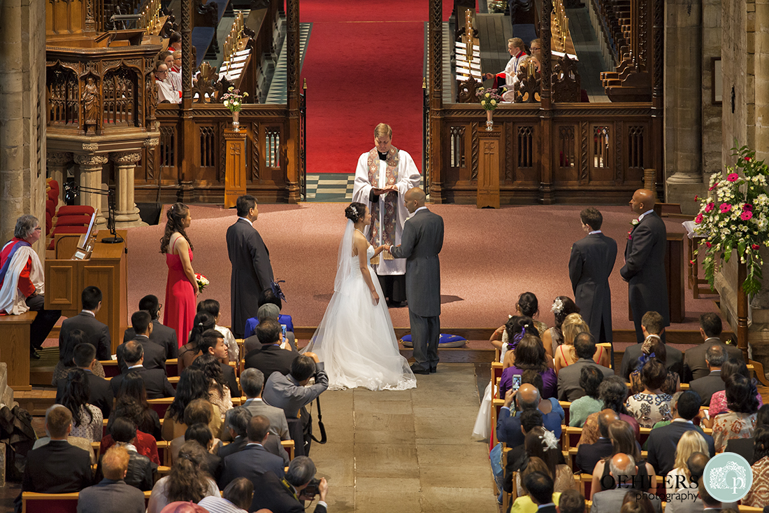 An aerial photograph of the bride and groom taking their vows.