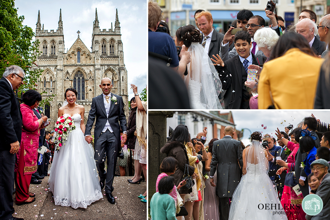 Montage of guests throwing confetti at the bride and groom.