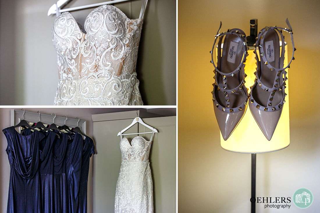 Montage of the Bride's and bridesmaids' gorgeous dresses hanging up plus Valentino wedding shoes on lamp stand.