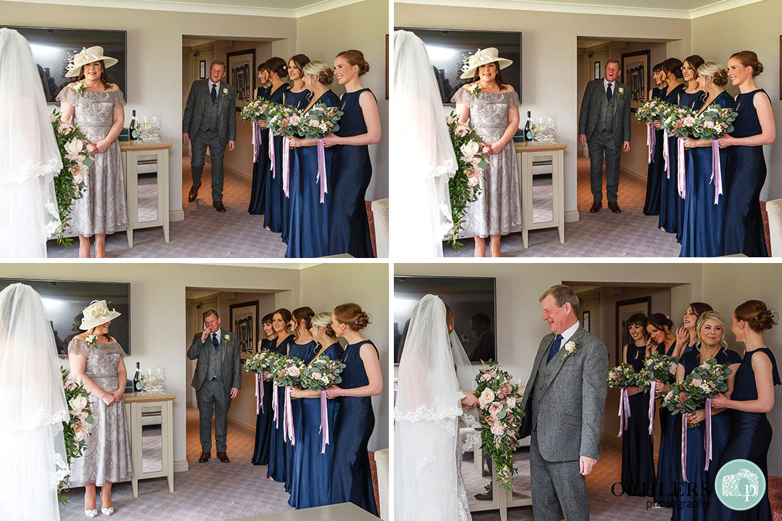 Montage of the big reveal of bride in wedding dress to her smiling father with happy mother and bridesmaids looking on.