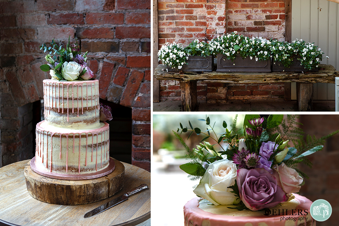 Montage of wedding cake and flowers.