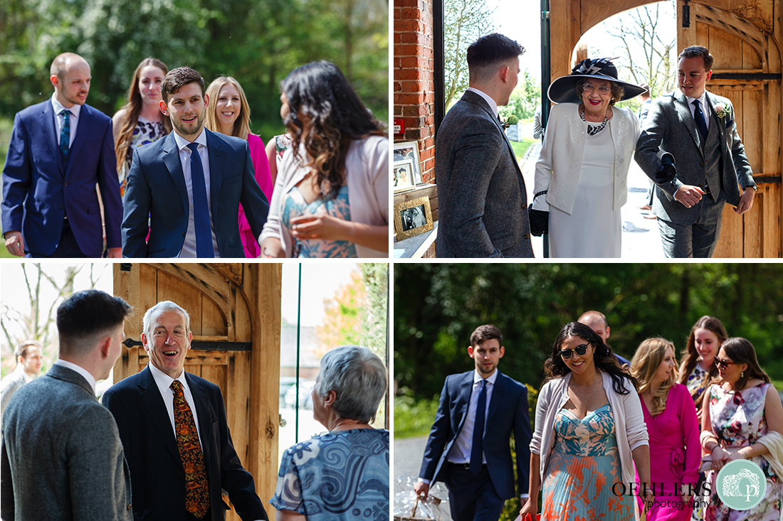 Montage of ushers greeting wedding guests arriving in sunshine at entrance to Shustoke Barn.
