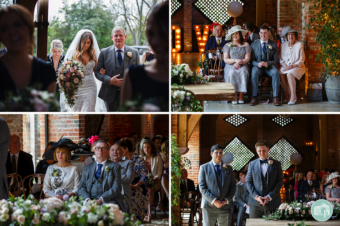 Montage of bride's entrance to barn, parents waiting in anticipation; groom and best man standing and waiting.