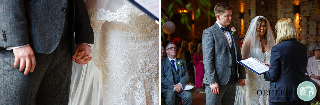 Montage of close-ups of bride and groom holding hands and listening to registrar.