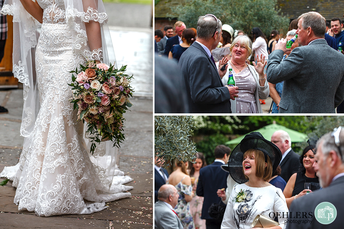 Montage of detailed shot of bride's wedding dress and fantastic bouquet and guests mingling post-ceremony.