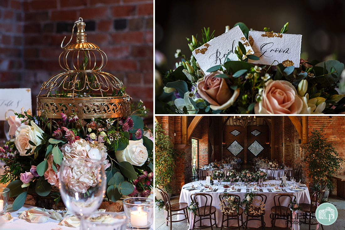 Montage of close-ups of the table decorations and of the wedding breakfast room.