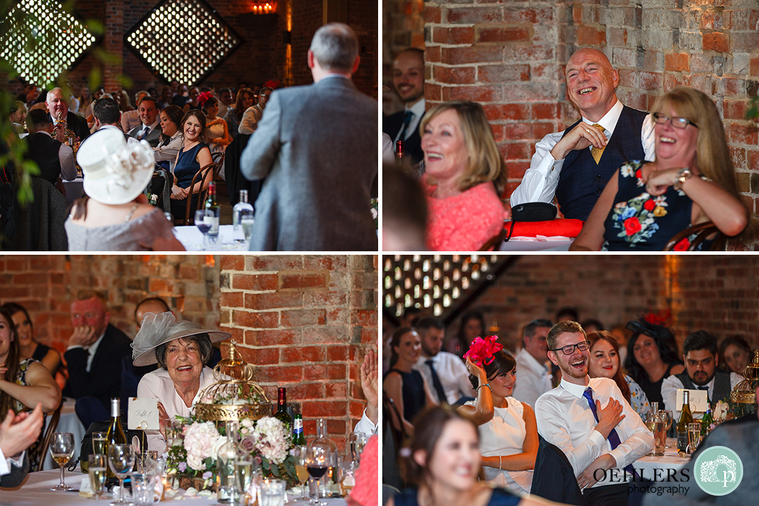 Montage of guest's reactions during the wedding speeches.