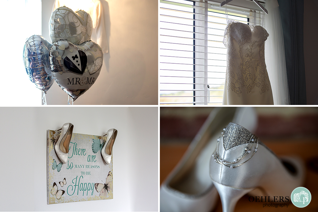 photographs of the wedding dress, shoes, jewellry and balloons